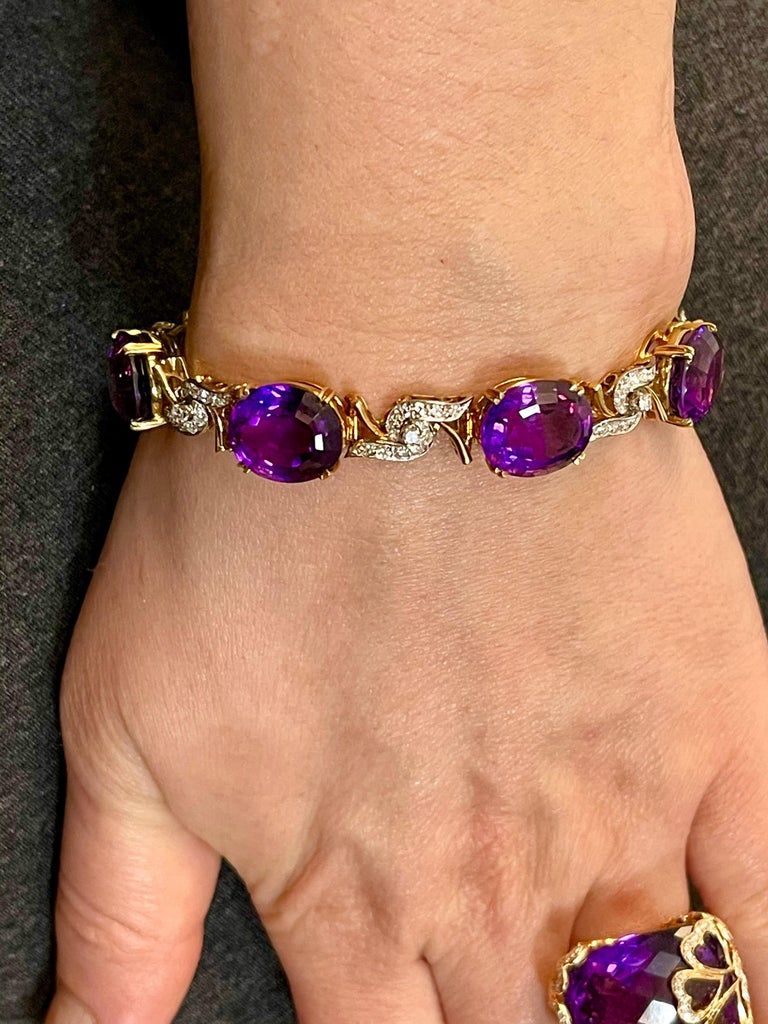 52 Carat Oval Amethyst and Diamond Bracelet in 18 Karat Yellow Gold For Sale 6