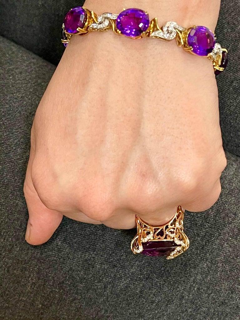 52 Carat Oval Amethyst and Diamond Bracelet in 18 Karat Yellow Gold For Sale 8