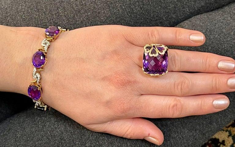 52 Carat Oval Amethyst and Diamond Bracelet in 18 Karat Yellow Gold For Sale 9