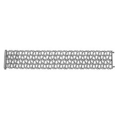 Mesh Diamond Bracelet Antique Look 5 Carat Diamonds Set in 14 Karat White Gold