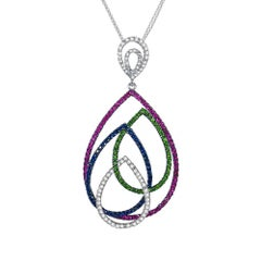 Diamond Blue Pink Sapphire Tsavorite Gold Pendant Necklace Interlocking Pears