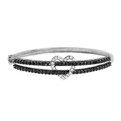 Diamond Heart Bangle Bracelet in 14 Karat Gold with White and Black Diamonds