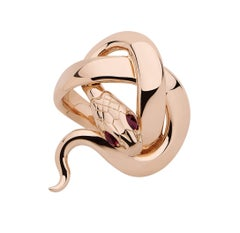 Sylvie Corbelin Signature Snake Ring in 18K Rose Gold and Rubies