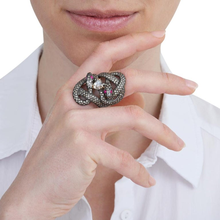 Old Mine Cut Sylvie Corbelin  One Of A Kind Gold and Silver Double Snake Ring with Diamonds For Sale