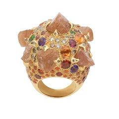 Sylvie Corbelin Vermeil Multi Gems Cocktail Ring with Diamonds