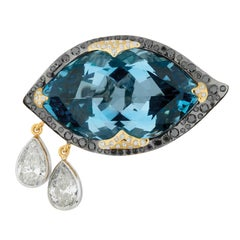 Sylvie Corbelin Santa Maria Mine Aquamarine Eye Shape Ring in Gold and Diamonds