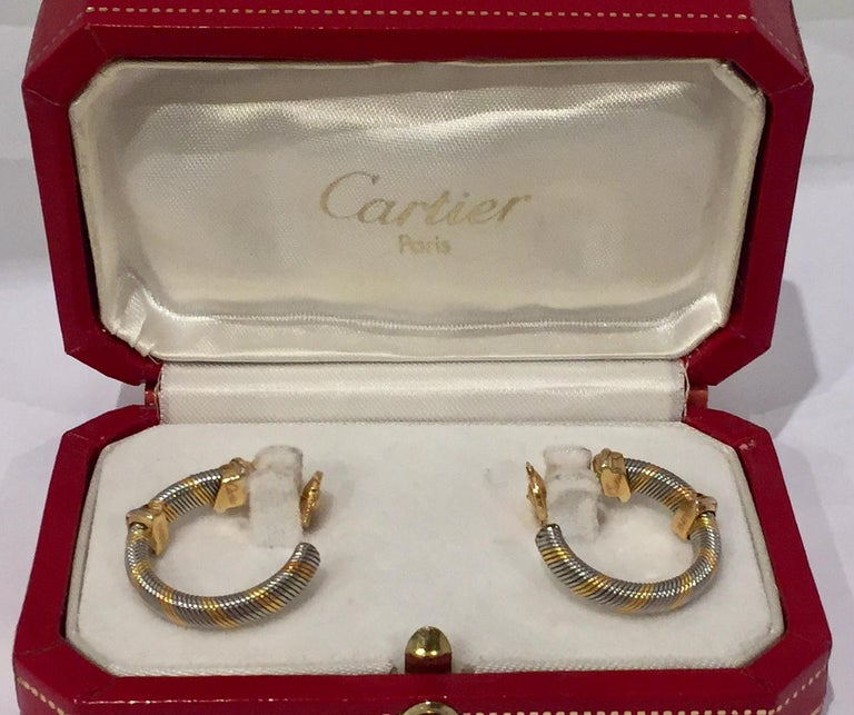 Contemporary Cartier 1980s 18 Karat Yellow Gold and Stainless Steel Hoop Earrings For Sale