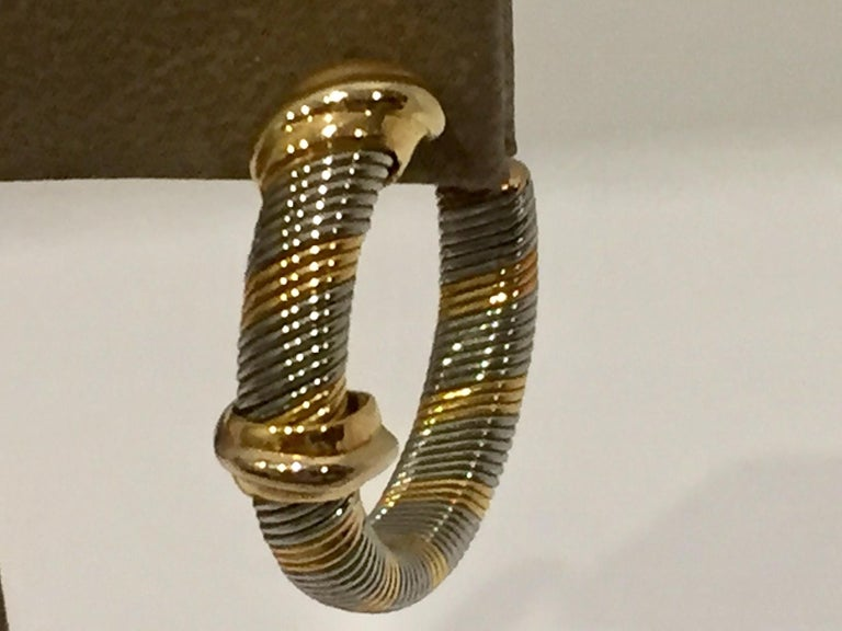 Women's Cartier 1980s 18 Karat Yellow Gold and Stainless Steel Hoop Earrings For Sale
