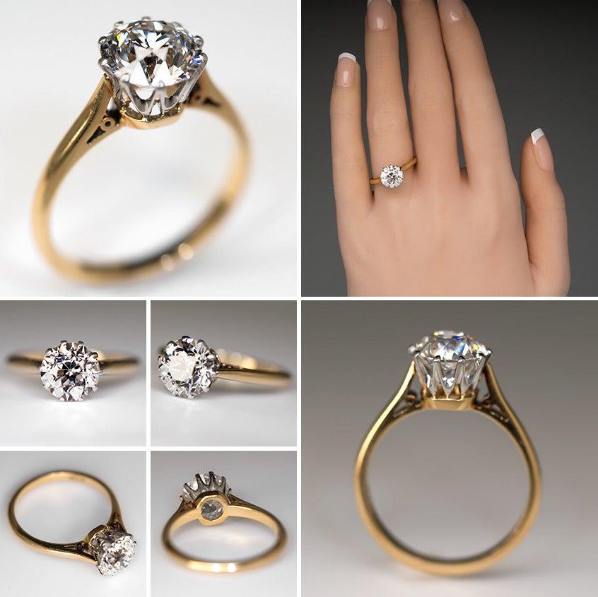2 27 Carat Old Euro Diamond Gold Platinum Antique Engagement Ring at 1stdibs