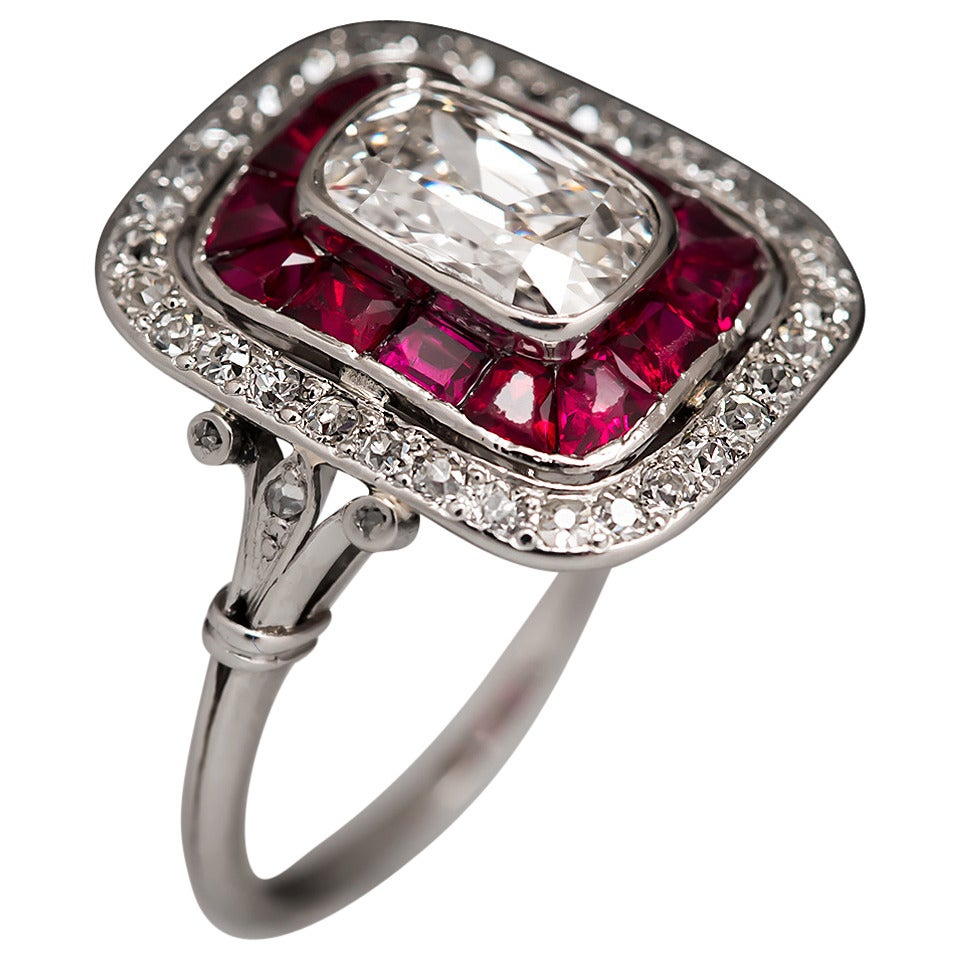 1920 Art Deco Diamond Platinum Ring At 1stdibs