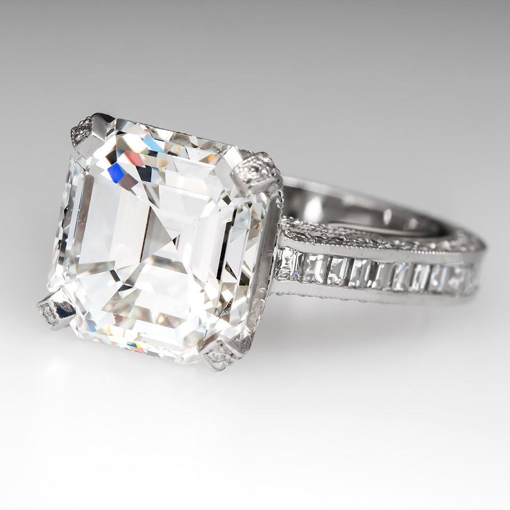7 carat asscher cut platinum engagement ring