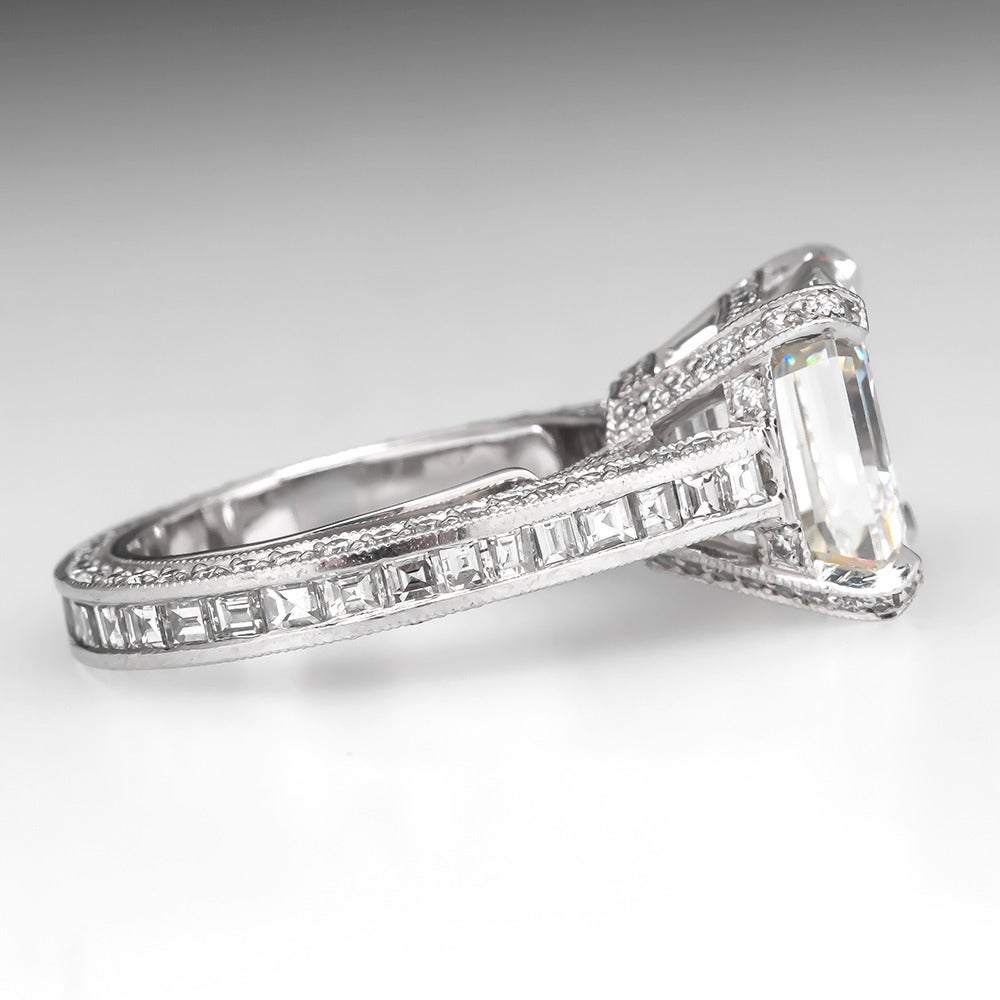7 Carat GIA Asscher Cut Diamond Platinum Engagement Ring at 1stdibs