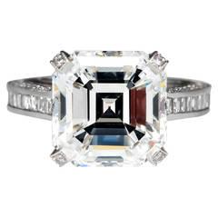 7 Carat GIA Asscher Cut Diamond Platinum Engagement Ring