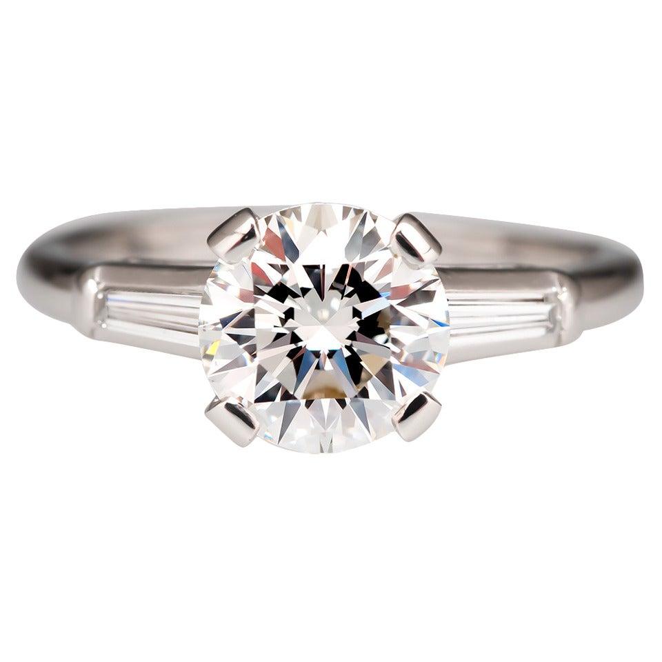 1 5 Carat Diamond Platinum Engagement Ring With Baguettes