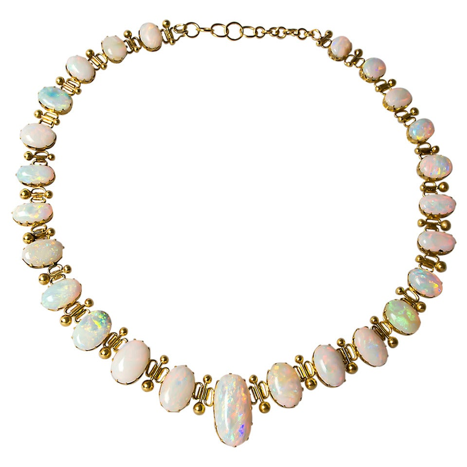 1920 S Antique Crystal Opal Gold Necklace At 1stdibs
