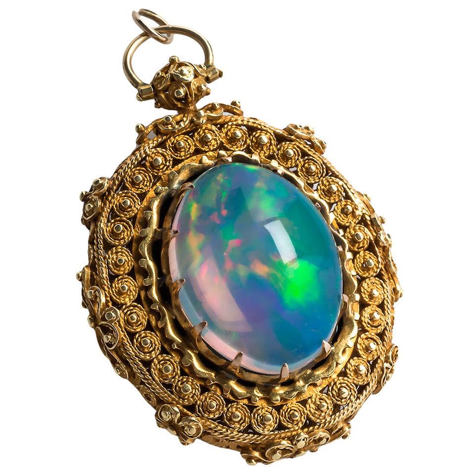 Victorian Era Jelly Opal Locket Pendant At 1stdibs