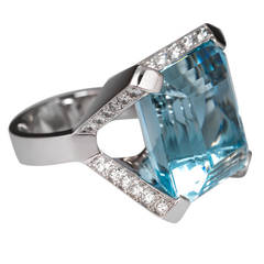 28 Carat Aquamarine Diamond Cocktail Ring