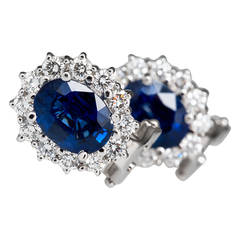 Sapphire Diamond  Cluster Earrings
