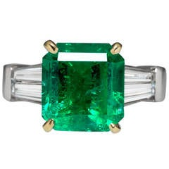 4.82 Carat Emerald & Diamond Platinum Ring