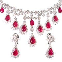 Ruby 19.76 Carat, and Diamond Necklace Earrings Set