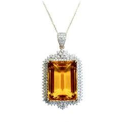 Citrine 27.39 Carat Diamond Pendant