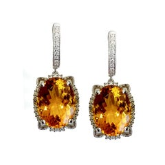 Citrine 19.44 Carat and Diamond Earrings