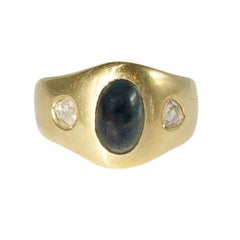 Bandring Yellow Gold with Sapphire Cabochon and Diamonds