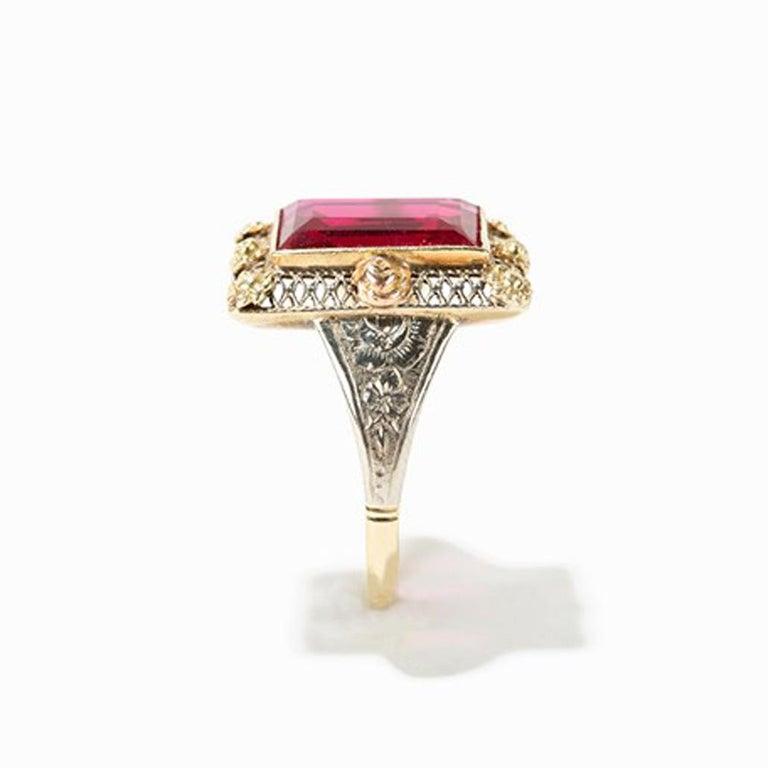 Baguette Cut Gold Ring with Baguette-Cut Spinel, 14 Carat, 1920s For Sale
