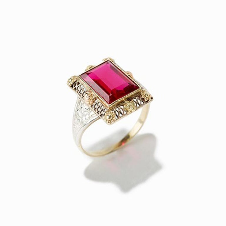 Gold Ring with Baguette-Cut Spinel, 14 Carat, 1920s For Sale 1