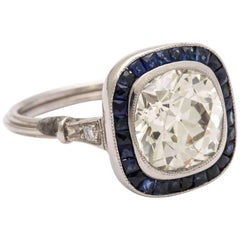 Vintage Cushion-cut Diamond  Engagement Ring  2.60cts with Natural Sapphire Halo
