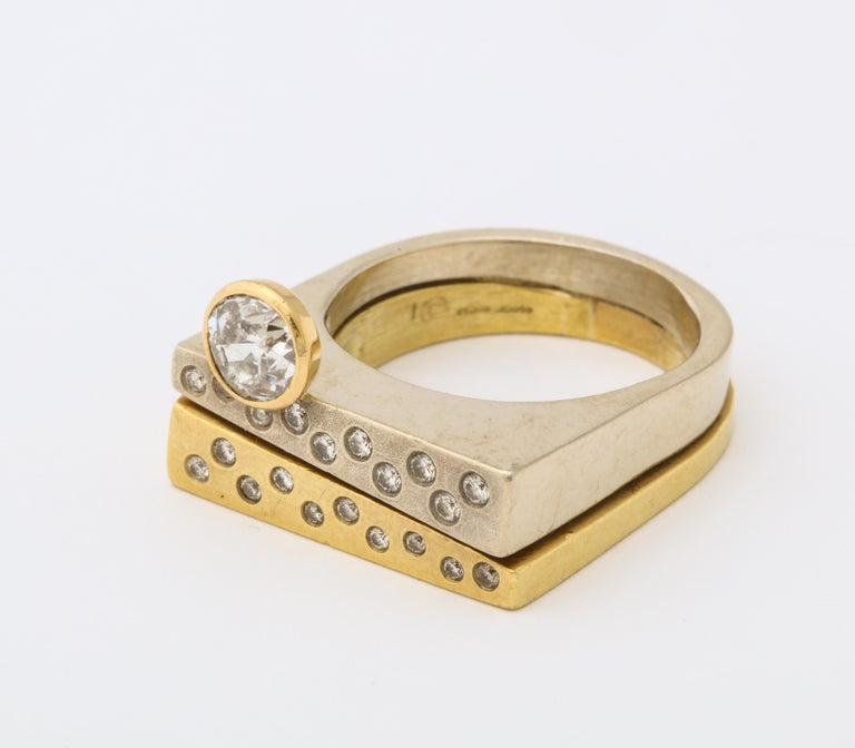Round Cut Modernist Two-Color Gold Ring with Diamonds For Sale