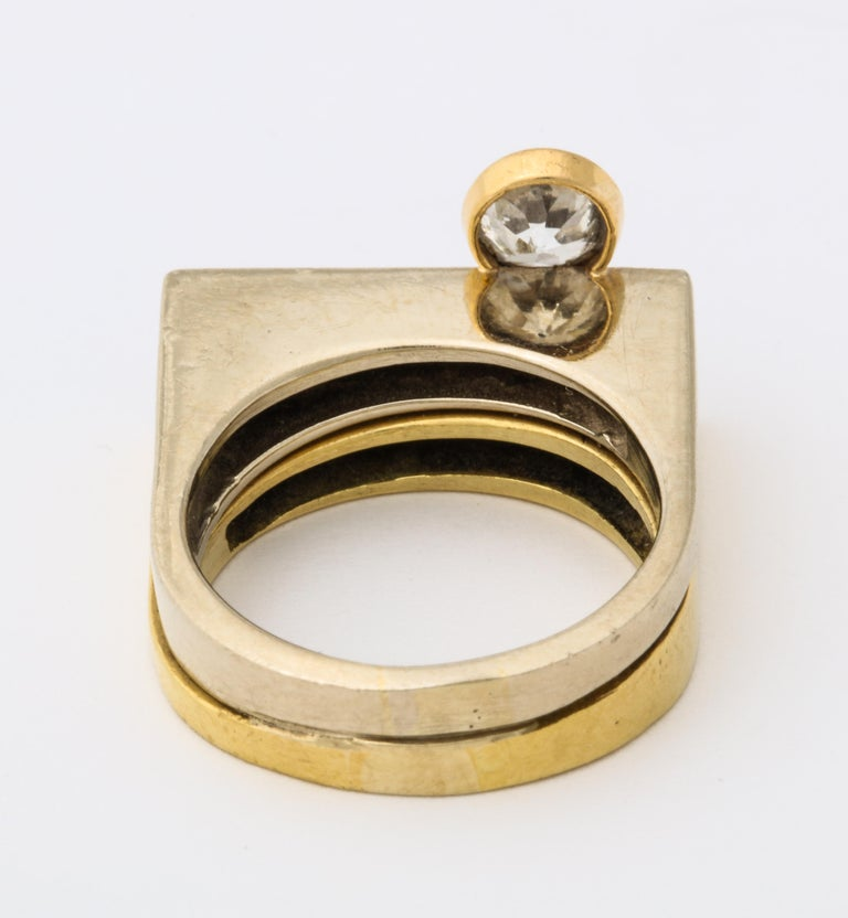 Women's Modernist Two-Color Gold Ring with Diamonds For Sale