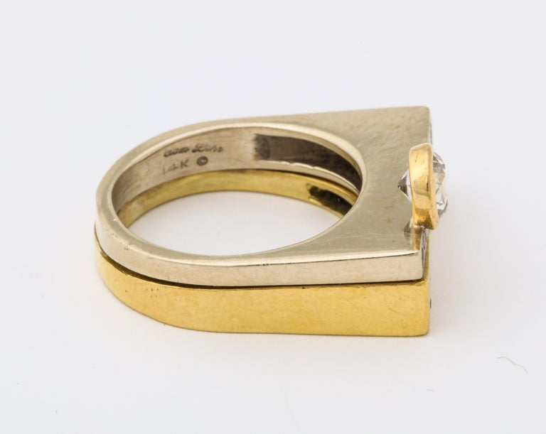 Modernist Two-Color Gold Ring with Diamonds For Sale 1