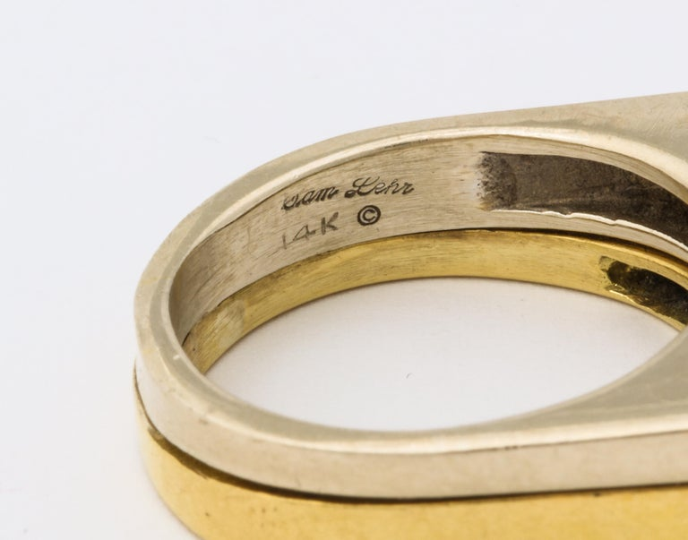 Modernist Two-Color Gold Ring with Diamonds For Sale 2