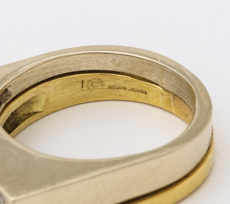 Modernist Two-Color Gold Ring with Diamonds For Sale 3