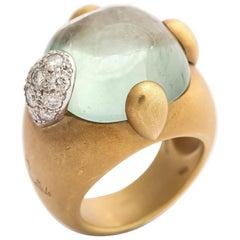 Vintage Pomellato Gold Aquamarine and Diamond Ring