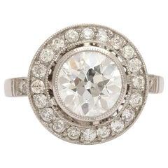 Vintage European Cut 2.20 Carat Diamond Target Engagement Ring
