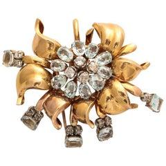 Retro Aquamarine and Diamond 18 Karat Gold Brooch