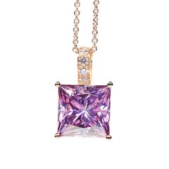 6.89 Carat Fancy Pink Radiant Cut Moissanite Diamond 18 Karat Rose Gold Necklace
