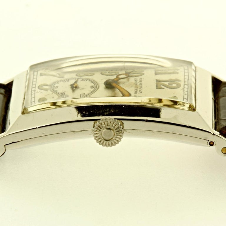 Patek Philippe Platinum Curved Hinged Case Art Deco Watch, circa 1927 For Sale 3