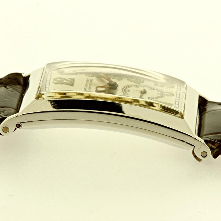 Patek Philippe Platinum Curved Hinged Case Art Deco Watch, circa 1927 For Sale 4