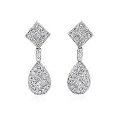 18 Carat White Gold Princess Cut and Brilliant Cut Diamond Cluster Drop Earrings