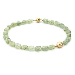 Yellow Gold, Prehnite and Golden South Sea Pearl Necklace with Magnetic Clasp