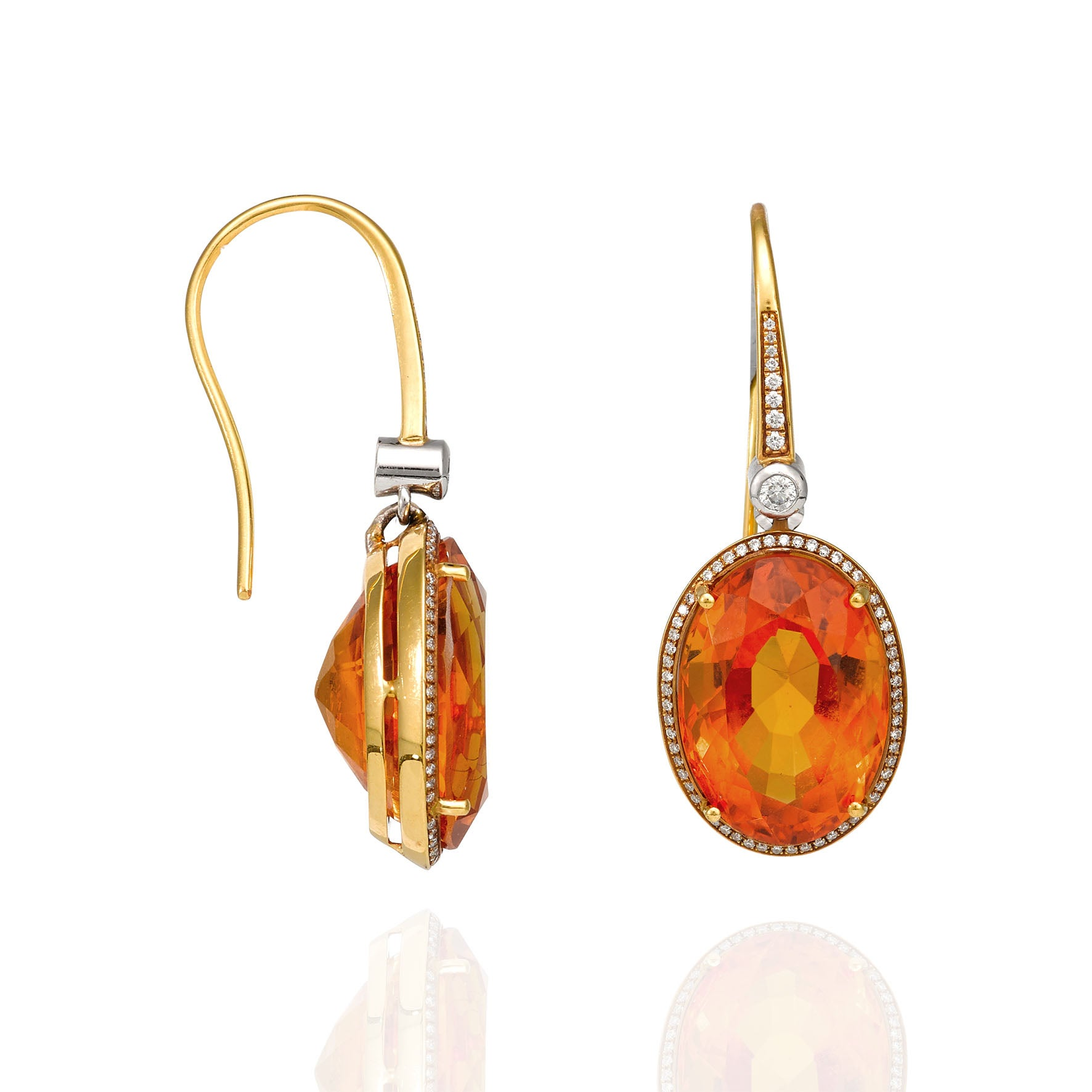 dafcbdde7 Giulians Art Deco Inspired Oval Cut Citrine and Diamond Drop Earrings For  Sale at 1stdibs