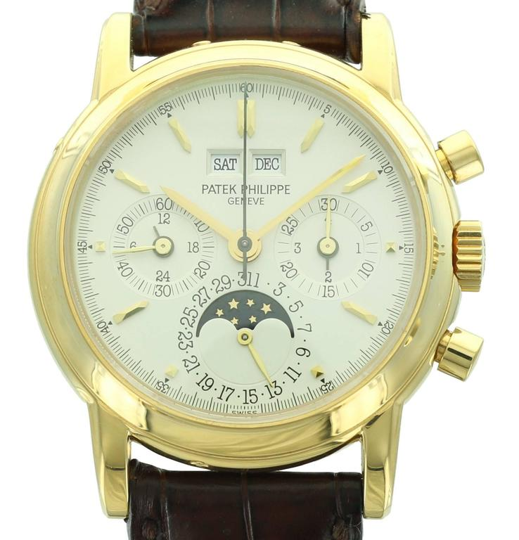 Patek Philippe Yellow Gold Perpetual Calendar Chronograph Wristwatch Ref 3970J 2