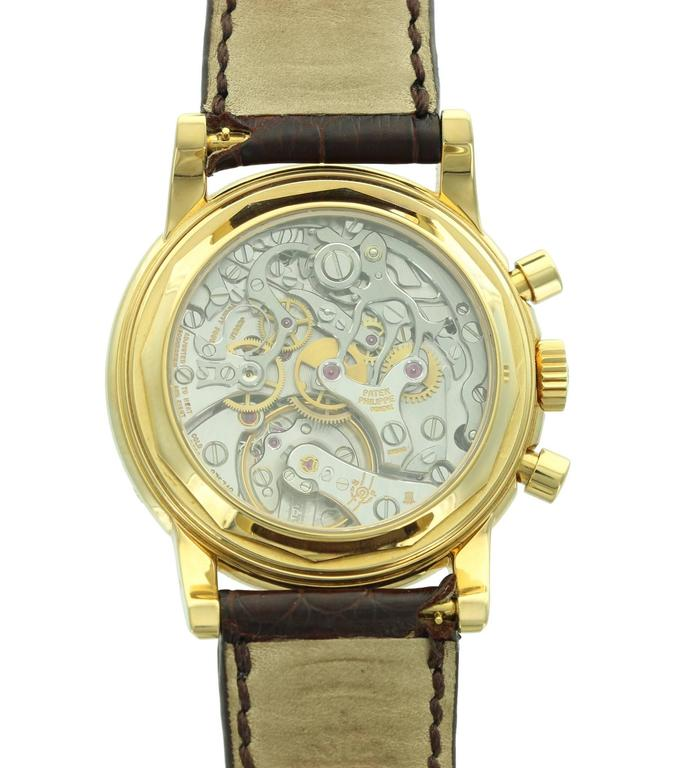 Patek Philippe Yellow Gold Perpetual Calendar Chronograph Wristwatch Ref 3970J 4