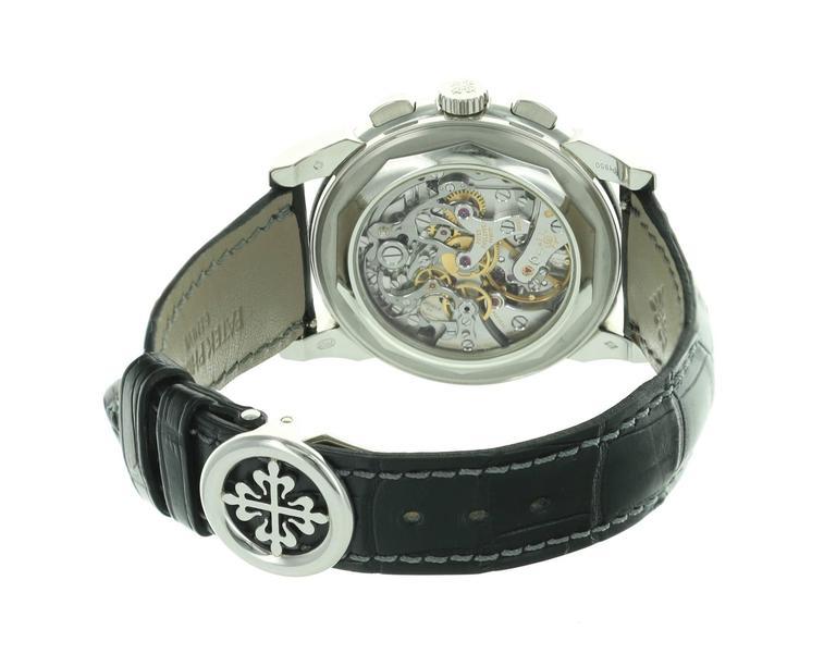 Men's Patek Philippe Platinum Perpetual Calendar Chronograph Wristwatch Ref 5970P For Sale