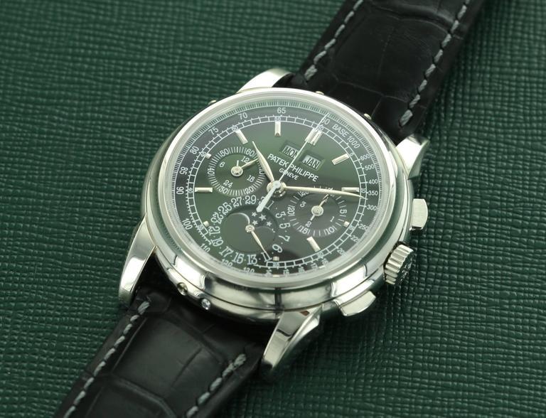 Patek Philippe Platinum Perpetual Calendar Chronograph Wristwatch Ref 5970P For Sale 1
