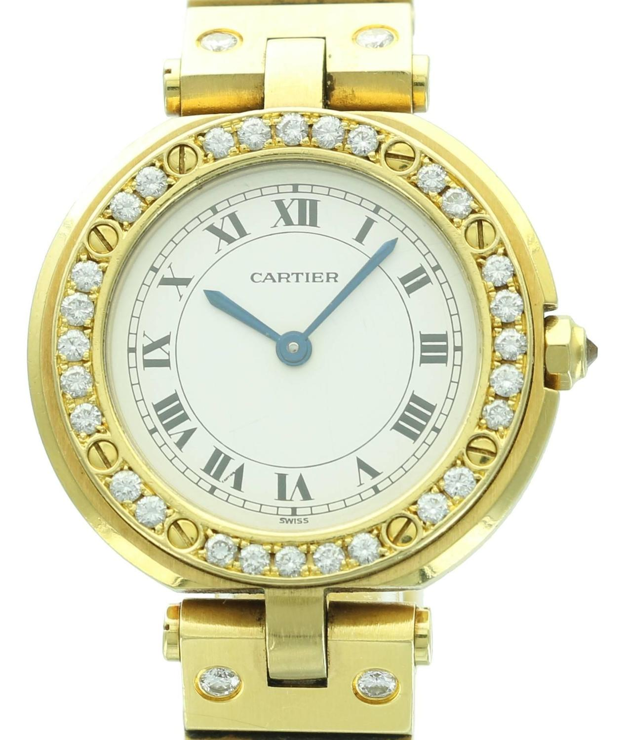 Cartier Yellow Gold Diamond Santos Round Wristwatch For ...