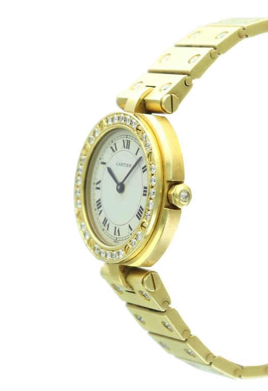 Cartier Yellow Gold Diamond Santos Round Wristwatch at 1stdibs